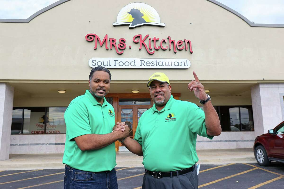 Owner Garlan McPherson, left, with Keith Scott, his brother and business partner, outside the new Mrs. Kitchen Soul Food Restaurant at 5237 Walzem Rd. in Windcrest on Tuesday, Jan. 12, 2021.