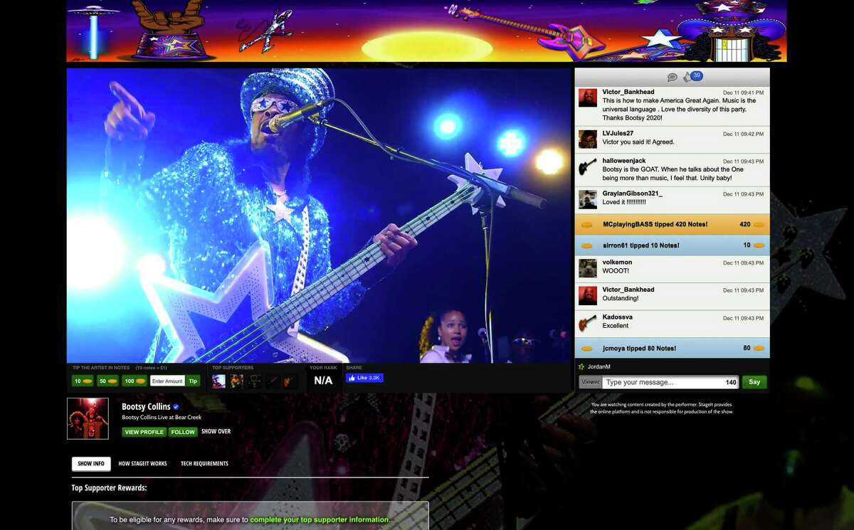 Bootsy Collins performs a virtual show on StageIt.