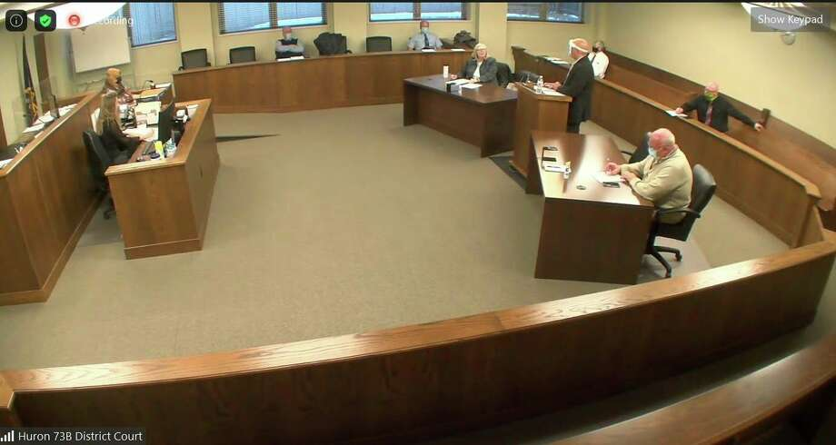 The view of this week's Huron County Board of Commissioners meeting over Zoom. (Robert Creenan/Huron Daily Tribune)