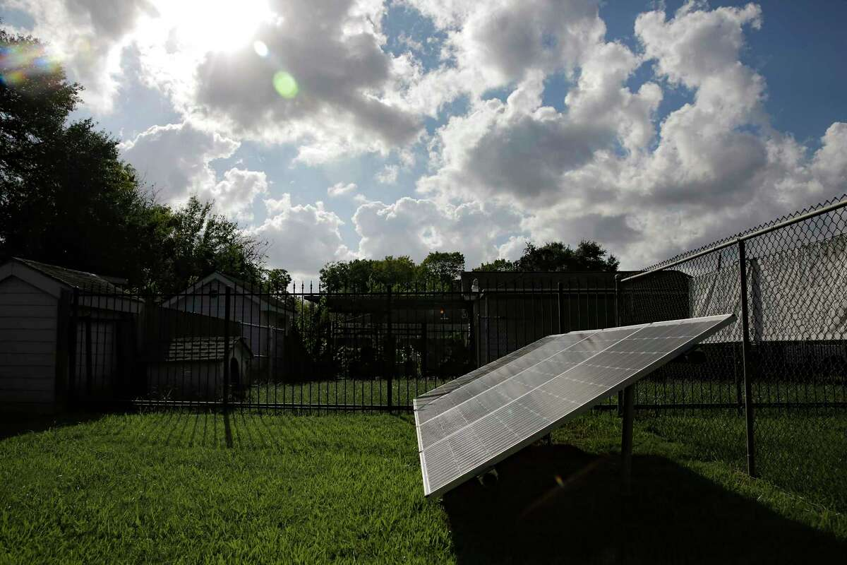 Solar power panels at Efrem Jernigan's solar outdoor classroom in the Sunnyside neighborhood in Houston on Tuesday, Oct. 1, 2019. The project was selected as part of an initiative called Reinventing Cities, which recognizes low-carbon solutions in cities around the world. The project still needs to find investors, but construction is tentatively scheduled to begin in 2021.