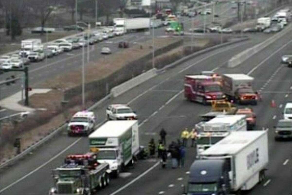 A screenshot of a CTDOT traffic camera showing a crash on Intersate 95 south in New Haven, Conn., on Wednesday, Jan. 13, 2021.