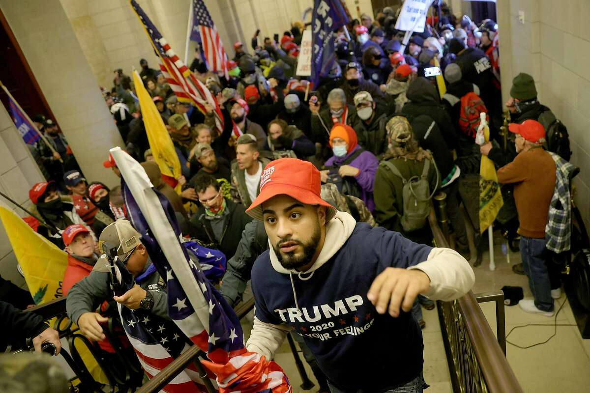 Supporters of President Trump enter the U.S. Capitol Building on Jan. 6, 2021, in a rampage that left five people dead.