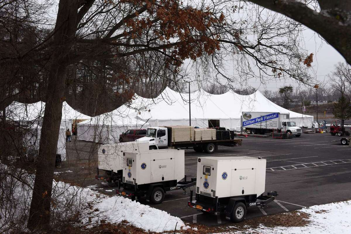 A vaccine distribution center being built on the University at Albany's Northwest Gold parking lot on Wednesday, Jan. 13, 2021, in Albany, N.Y. (Will Waldron/Times Union)