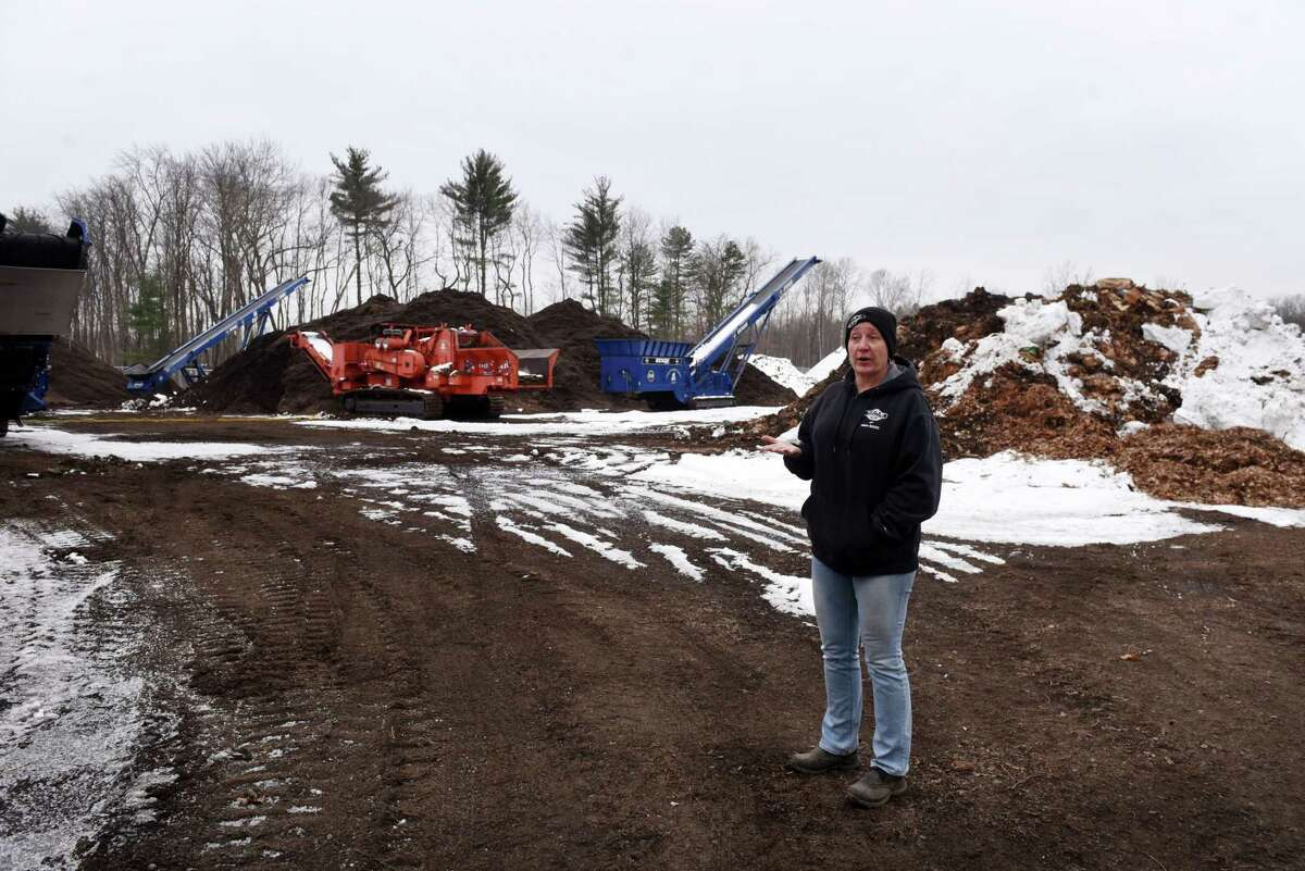Rachel Boisvert of HURB Landscaping gives a tour of her facility on Wednesday, Jan. 13, 2021, in Colonie, N.Y. As COVID-19 halted international travel for many and dwindled down an already limiting immigration system, a number of local businesses, including HURB Landscaping, have suffered financially because they weren't able to bring their usual migrant workers on H2B visas. (Will Waldron/Times Union)