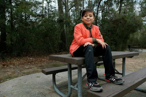 """Beto David """"Beto"""" Tidwell, a bilingual 11-year-old who stutters, at the Summer Storm Park near his home Thursday, Jan. 7, 2021 in The Woodlands, TX."""