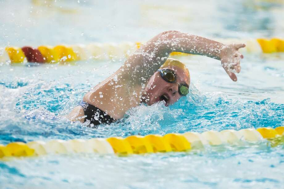 Dow High's Mackenzie Thackery competes in the 200 freestyle relay during a Nov. 2, 2020 meet against Midland High. Photo: Daily News File Photo
