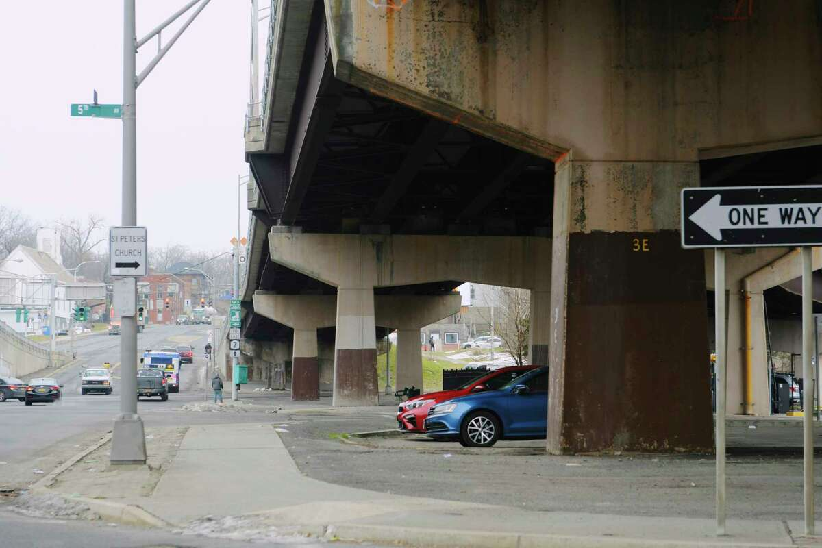 A view of the bridge support structures under the Hoosick St. bridges on Wednesday, Jan. 13, 2021, in Troy, N.Y. The Arts Center of the Capital Region is looking for proposals from area artists to create a piece of artwork that would use the surface of the bridge support structures to create the artwork on. (Paul Buckowski/Times Union)