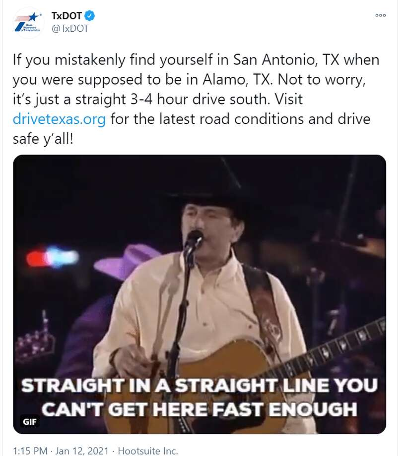 President Donald Trump's Tuesday visit to Alamo, a Texas border town, had a lot of people making a San Antonio connection, including the Texas Department of Transportation. Photo: Twitter Screenshot