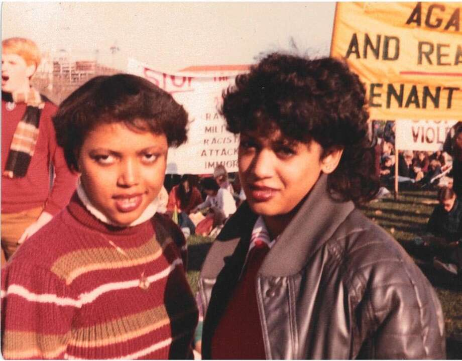 Fashion-forward Kamala Harris, right, and Gwen Whitfield attend a rally during Harris's freshman year at Howard University in 1982. Photo: Courtesy Of Kamala Harris. / Kamala Harris