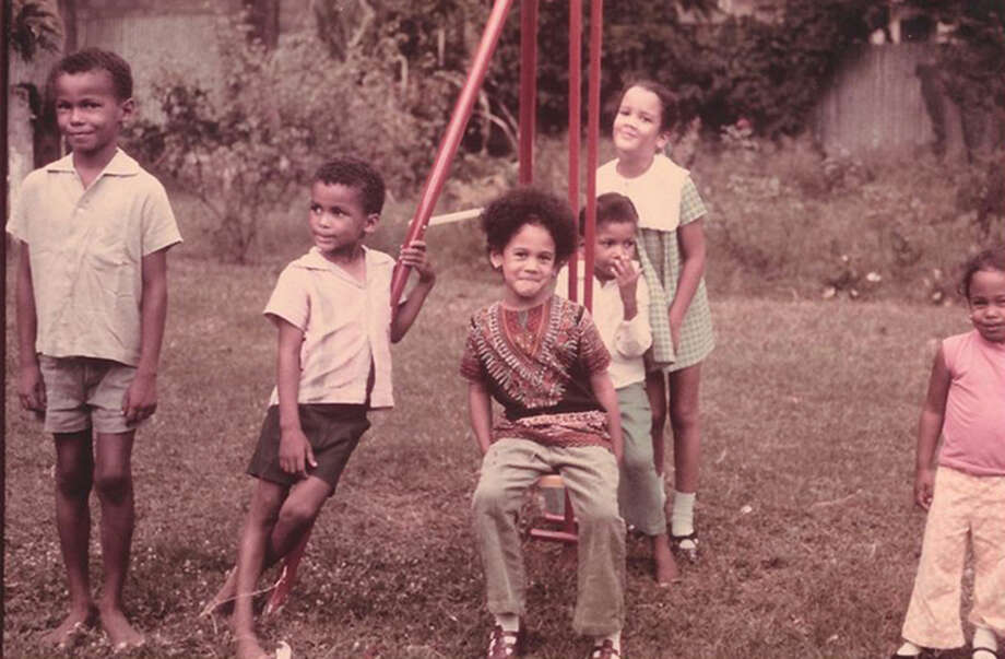 Kamala Harris and her sister Maya, far right, spend time with their cousins in Jamaica in an undated photo. Photo: Photo Courtesy Of Kamala Harris / Handout