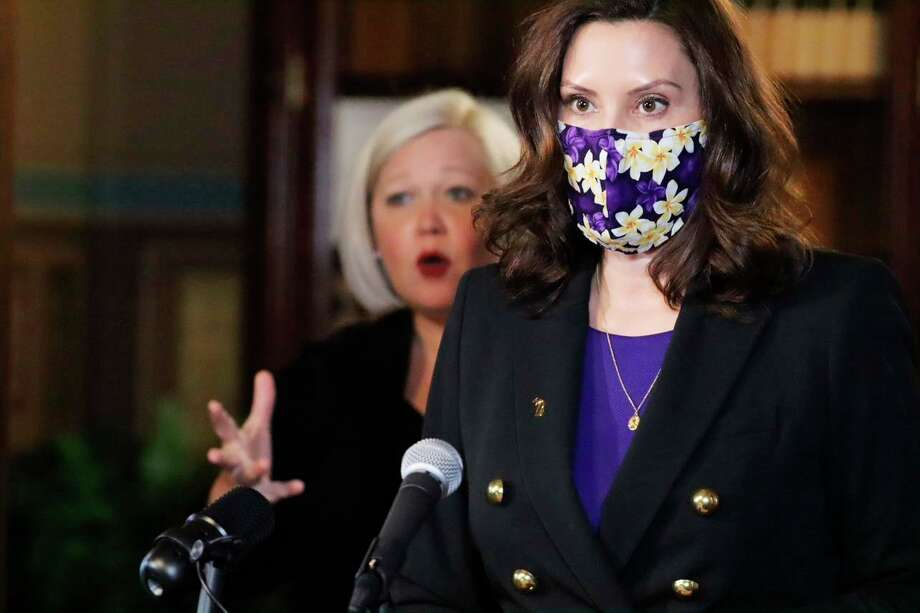 Gov. Gretchen Whitmer speaks at a COVID-19 news conference on Wednesday. Whitmer told Michiganders if COVID-19 numbers continue to head in the right direction, her hope is that the state will be able to resume indoor dining with strong safety measures in place on Feb. 1. (Courtesy photo)
