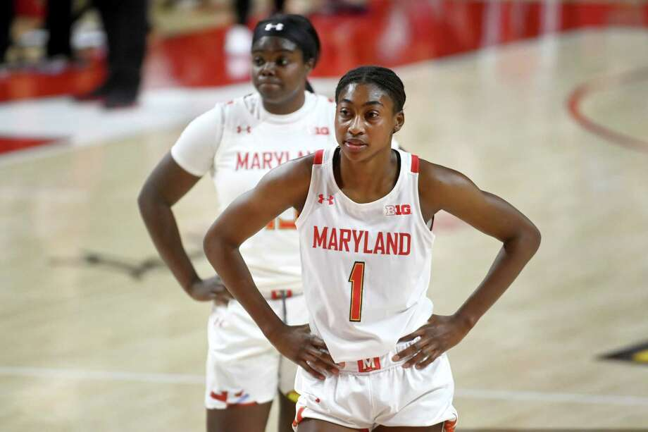 Maryland sophomores Diamond Miller (1) and Ashley Owusu, in background, are the leading scorers for the Terrapins. Photo: Washington Post Photo By Katherine Frey / The Washington Post