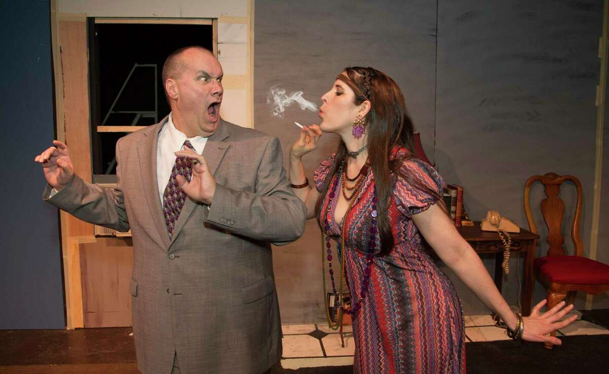 Michael Raabe as Barney and Amanda Abright as Bobbi in The Players