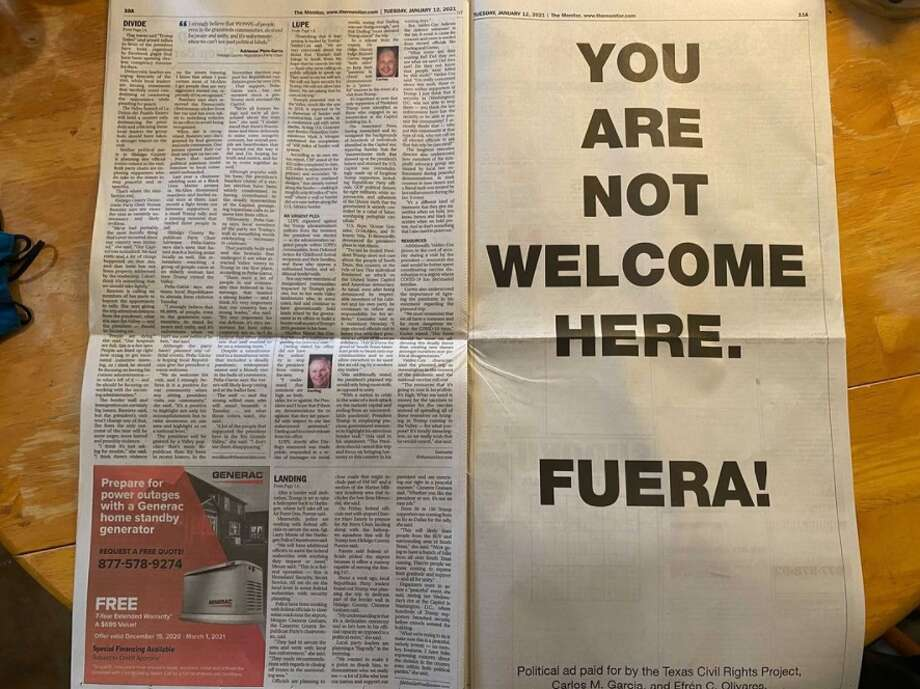 A Texas legal advocacy group took out a full-page political advertisement in a Rio Grande Valley newspaper the day of President Donald Trump's visit to the region. Photo: Courtesy, TCRP