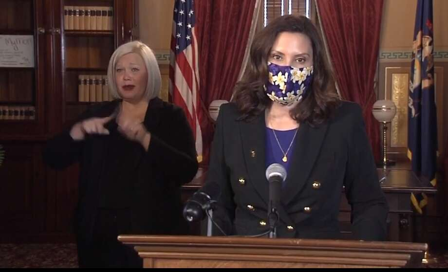 Gov. Gretchen Whitmer announced at a press conference Wednesday, Jan 13 that on Jan. 16, indoor group fitness activities can resume in Michigan. (Screen photo) Photo: Screen Photo