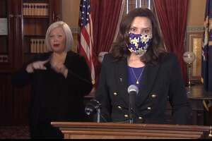 Gov. Gretchen Whitmer announced at a press conference Wednesday, Jan 13 that on Jan. 16, indoor group fitness activities can resume in Michigan. (Screen photo)