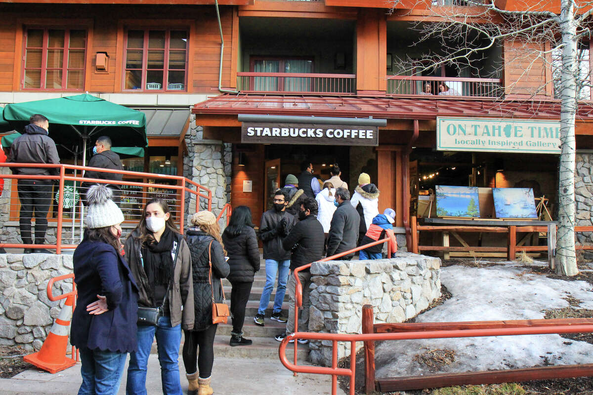 Lines spilled out of coffee shops and ice cream spots on a Saturday in South Lake Tahoe.