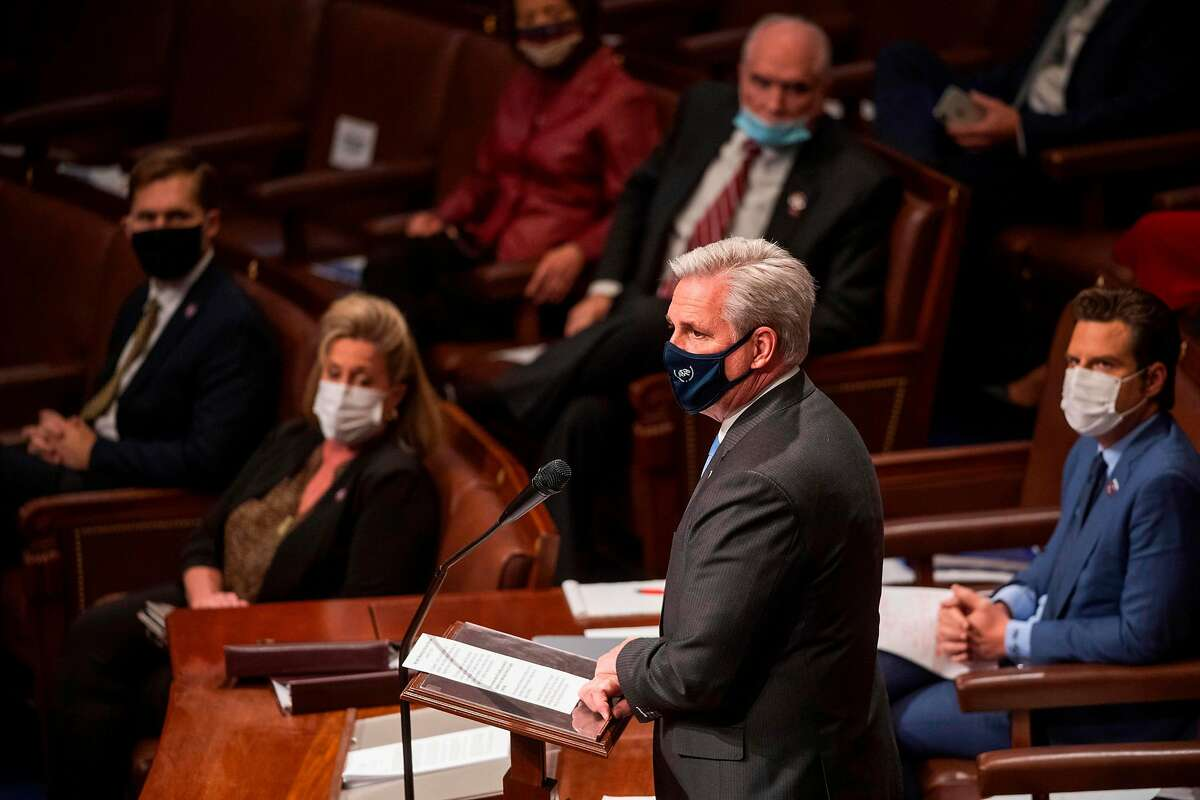 House Republican leader Kevin McCarthy of Bakersfield speaks in Congress on Jan. 6.