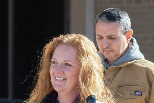 """Jenny Cudd and Eliel Rosa leave the Federal Courthouse in Midland 01/13/2021 after seeing a judge for their part in """"storming"""" the Federal Capitol in Washington January 6. Tim Fischer/Reporter-Telegram"""