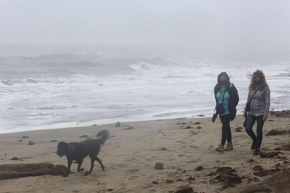 Patricia DeLeo of San Diego and Rose McCann (right) of San Diego walk with Jett on Mavericks Beach.