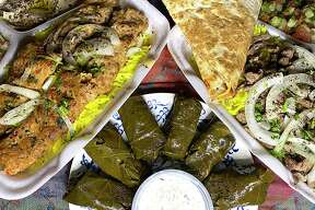 At King of Shawarma and Kabab, a Mediterranean food truck on Wurzbach Road, the menu includes a mixed beef and chicken kebab plate, stuffed grape leaves called dolma and a beef shawarma plate.