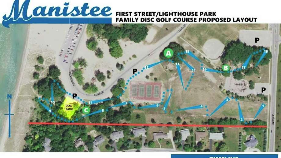 Disc golf enthusiasts have proposed a layout for a course in Lighthouse Park in Manistee. (Facebook photo)