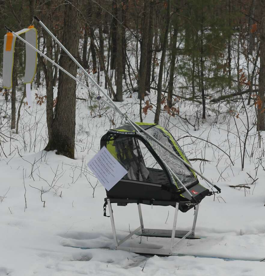 Thanks to a donation, visitors to the Manistee Non-Motorized Trail Park now have free access to a sled with which they can tow their children as they ski the trail. Photo: Kyle Kotecki/News Advocate