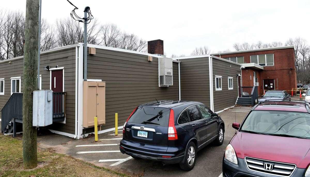 Modular classrooms outside of D.H. Ferrara School in East Haven on Jan. 13, 2021.