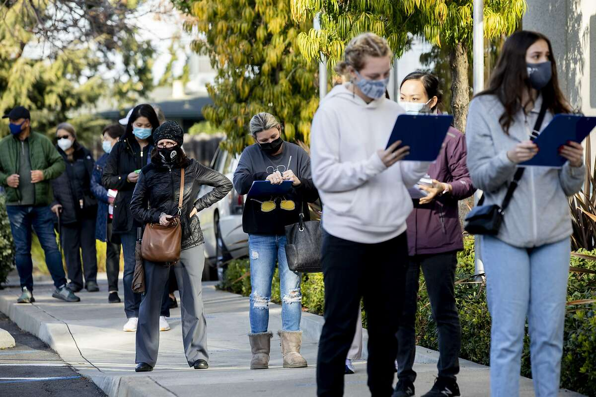 Hundreds of Alameda County workers lined up outside of St. Rose Hospital in Hayward to receive their vaccines. This week, many nonmedical workers showed up to appointments only to learn they weren't supposed to make them in the first place.