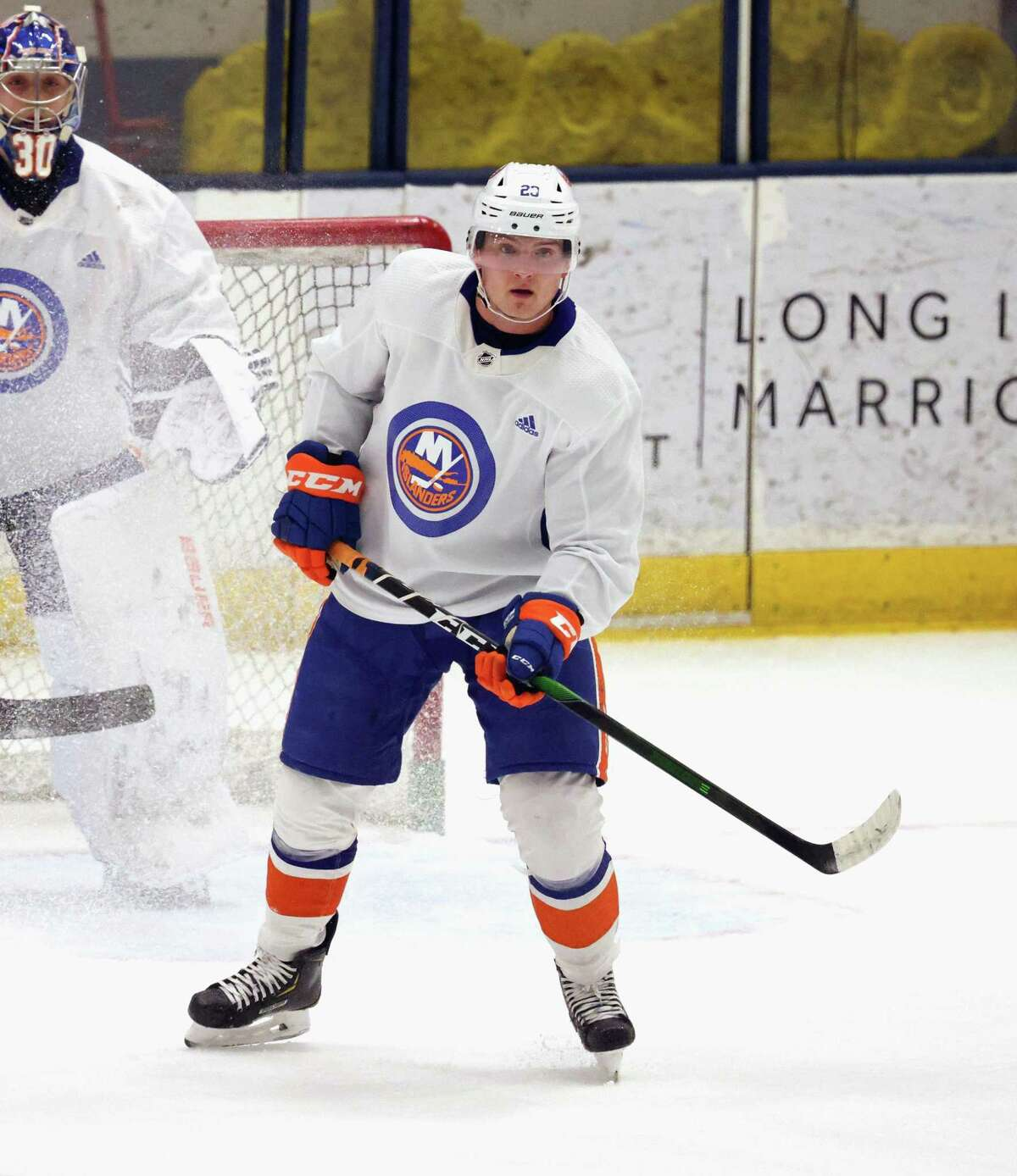 Former Sound Tigers forward Kieffer Bellows (20) earned a spot on the Islanders taxi squad.