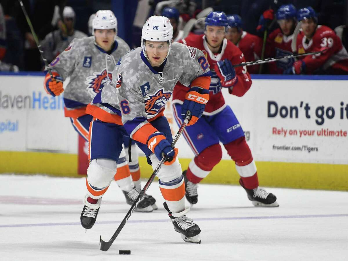 Bridgeport Sound Tiger forward Oliver Wahlstrom carries the puck into the offensive zone during the first period of their AHL hockey game with the Laval Rocket at the Webster Bank Arena in Bridgeport, Conn. on Sunday, January 12, 2020. The team has since changed its name to the Bridgeport Islanders.