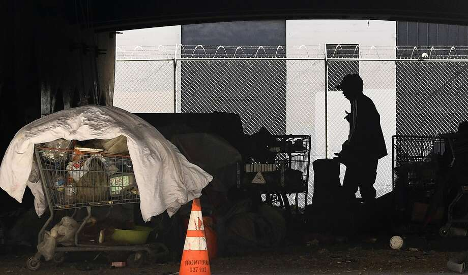 In this May 21, 2020 file photo, a man is seen at a homeless encampment under Interstate 110 in downtown Los Angeles. A coalition in California is proposing legislation to boost taxes corporations to raise $2.4 billion for homeless programs. Photo: Mark J. Terrill / Associated Press