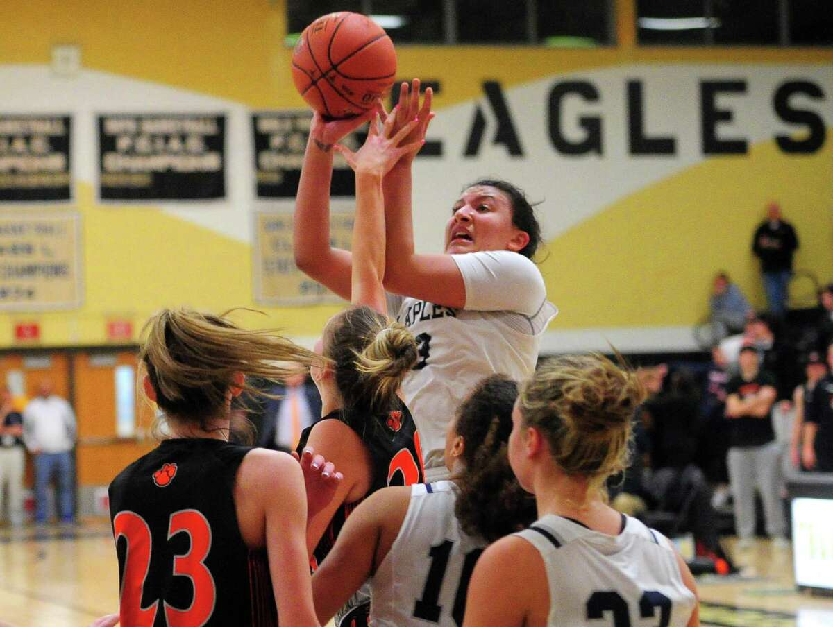 FCIAC Girls' basketball championship action between Ridgefield and Staples in Trumbull on Feb. 27.