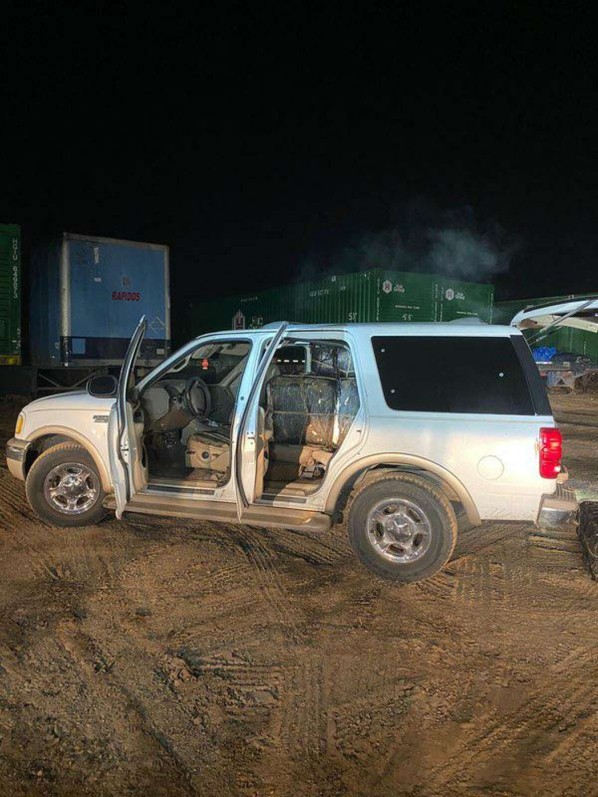 U.S. Border Patrol agents seized more than 600 pounds of marijuana from this vehicle in west Laredo. The suspected drug mules fled into Mexico.