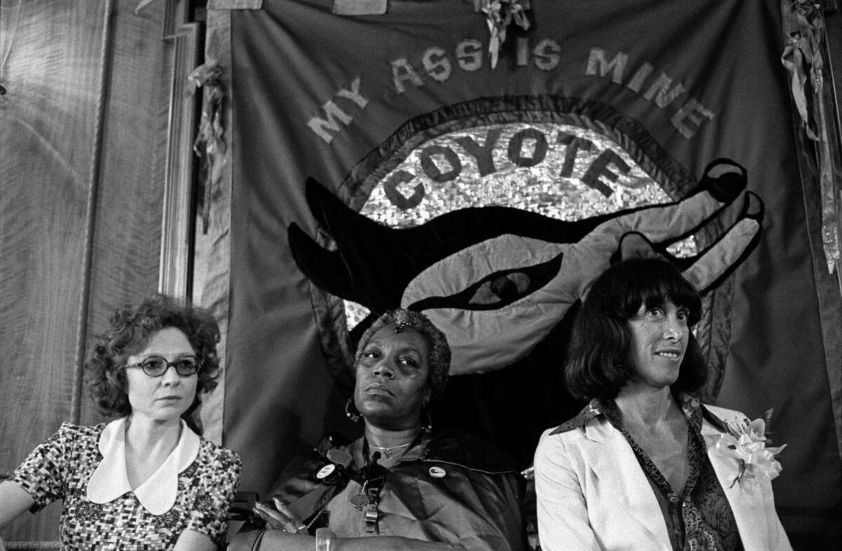 From left: American feminists Ti-Grace Atkinson, Florynce '