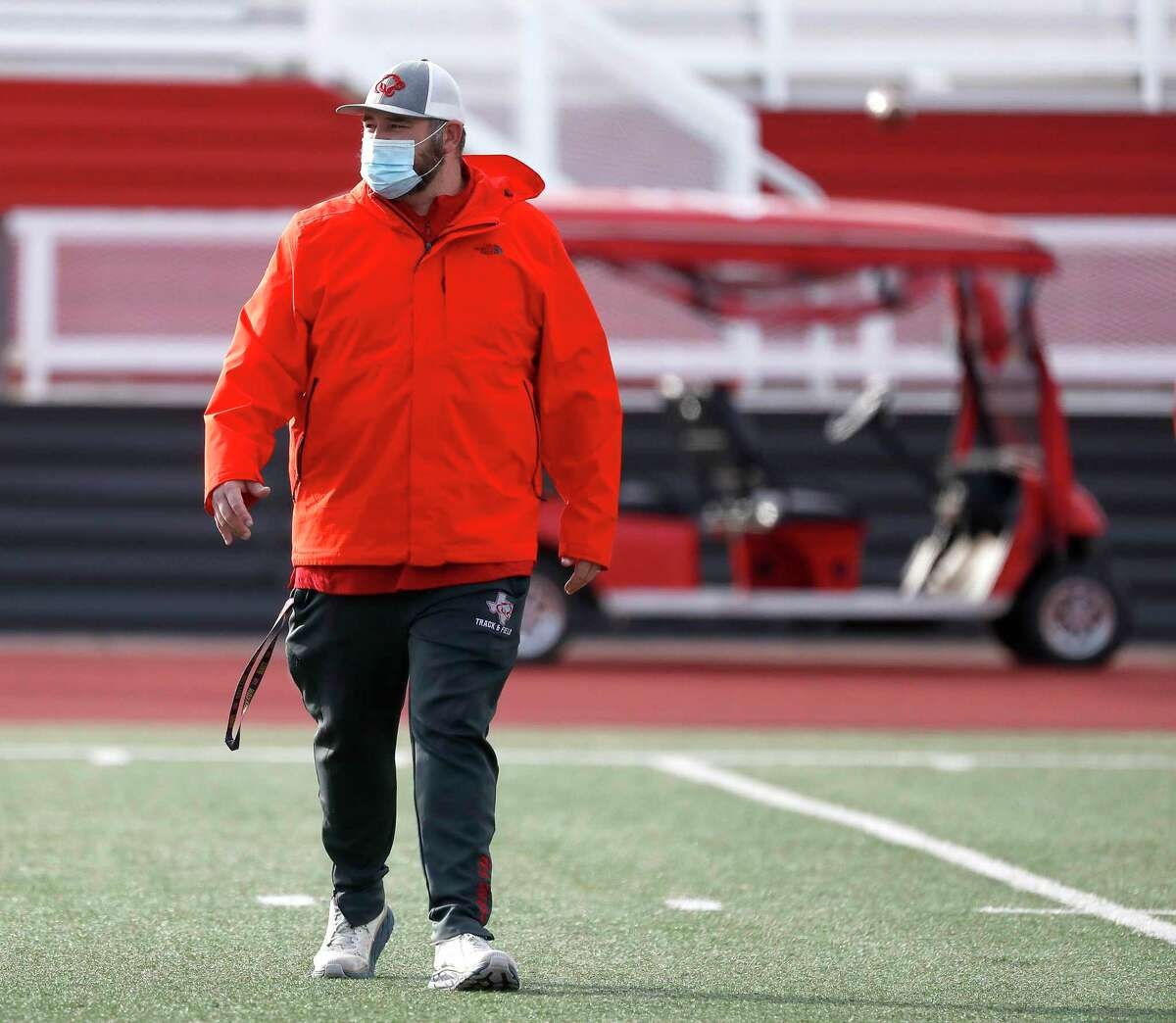 Crosby High School's head football coach, Jerry Prieto, during football practice at Cougar Stadium in Crosby, Tuesday, Jan. 12, 2021, as the team prepared to head to state.