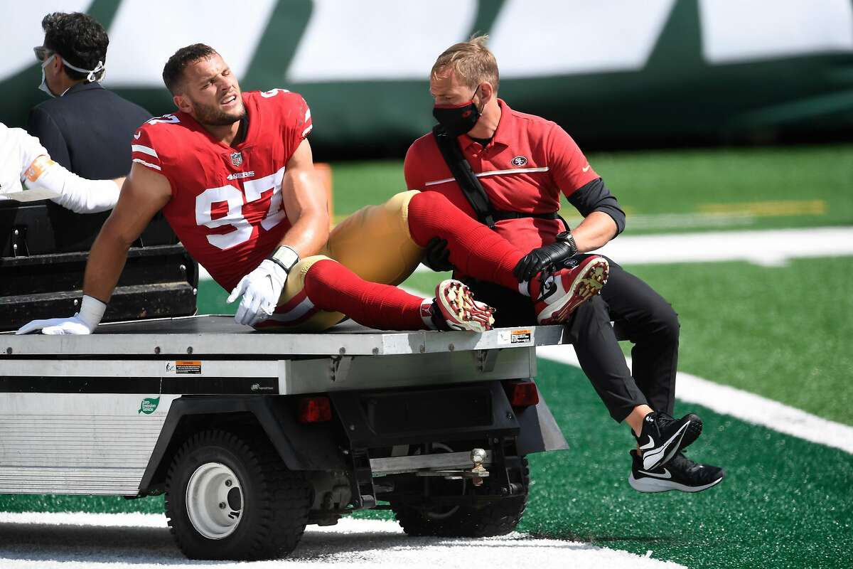 The 49ers' Nick Bosa, the NFL's Defensive Rookie of the Year in 2019, was lost for the season last year when he tore an ACL in the season's second game.
