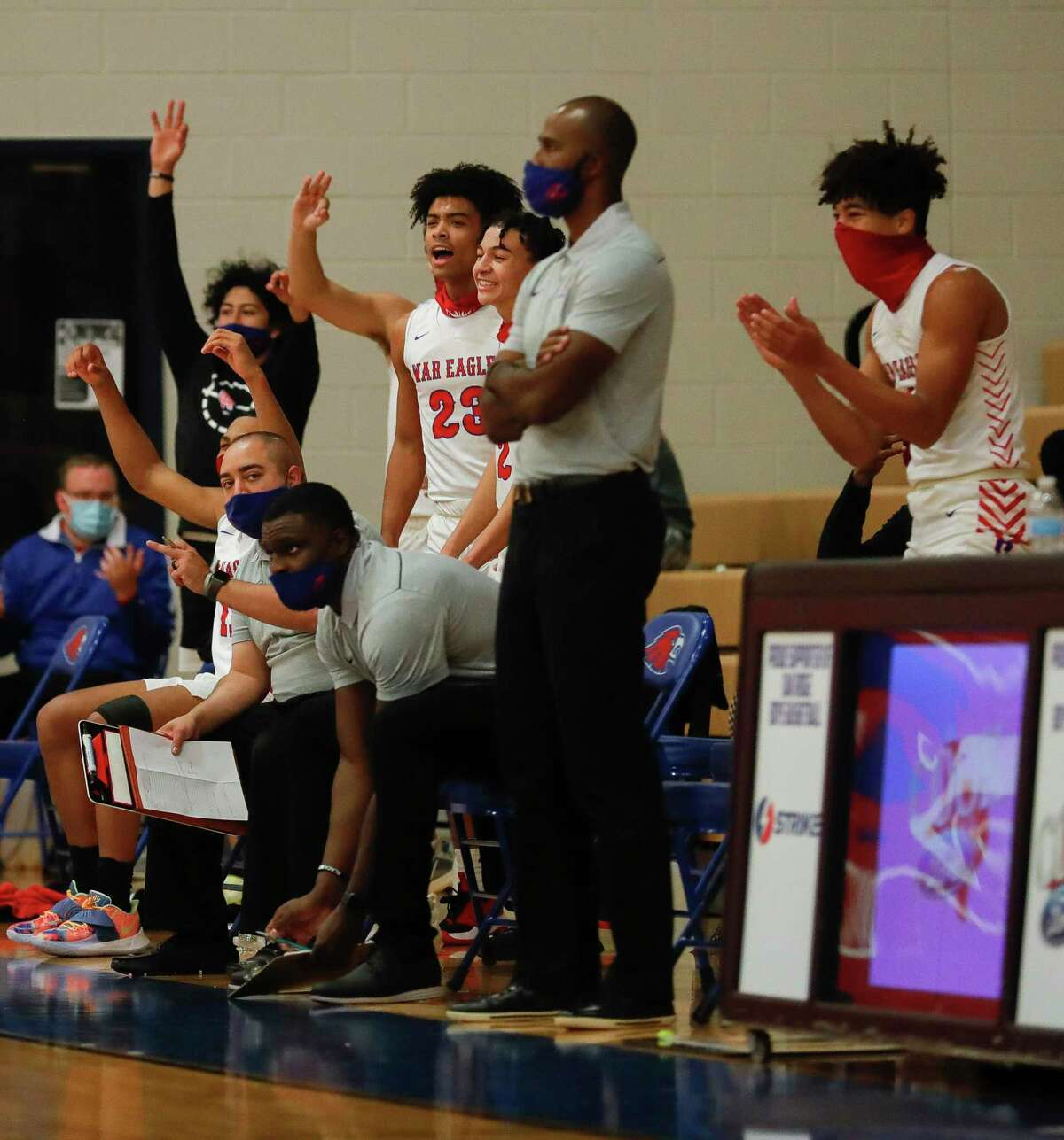 Led by head coach Marlin Cloudy, shown here in November, Oak Ridge beat The Woodlands Wednesday night.