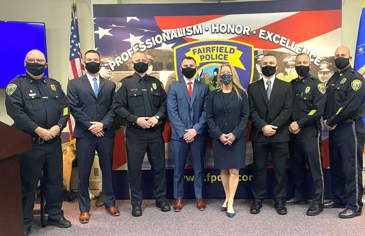 Fairfield Firstselectwoman Brenda L. Kupchick recently did the swearing in of four new police officers to the town Police Department's family. The new police officers on the town's police force are: Officer Daniel Loris, Alan Bakula, Anthony Falbo, and Eammon Monks. Fairfield Police Officer Dimitar Sadiev was sworn in in December.