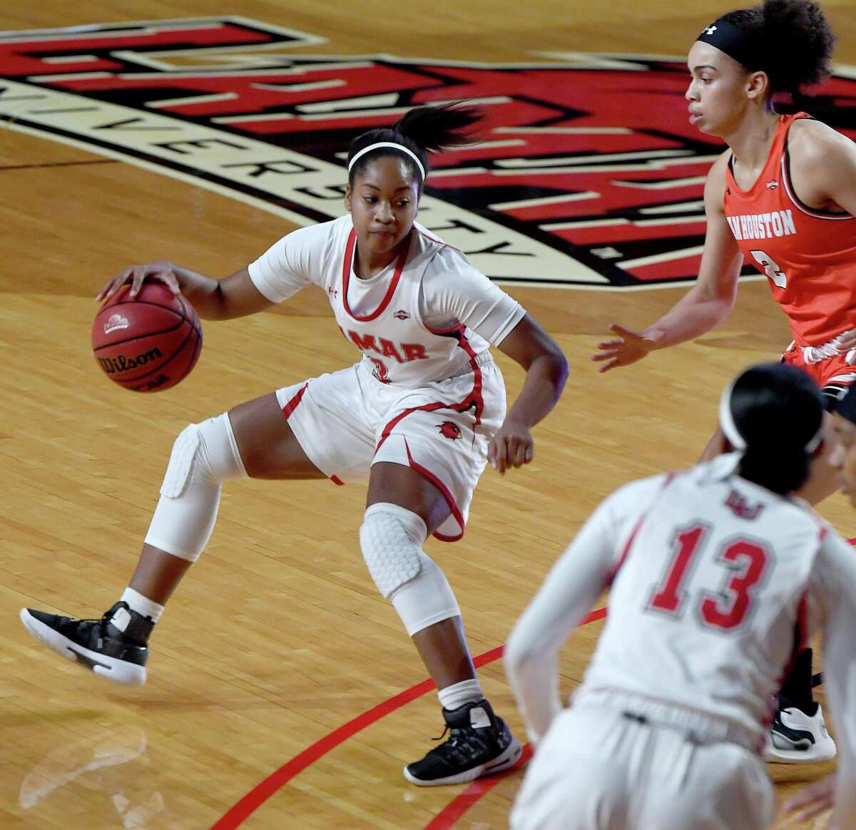 Lamar's Sabria Dean moves the ball inside as they face Houston Baptist at home Wednesday. Photo taken Wednesday, January 13, 2021 Kim Brent/The Enterprise