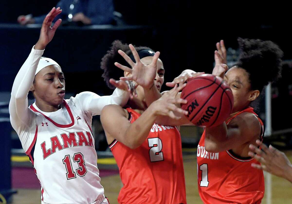 Lamar's Shedricka Pierson is in the mix for the rebound as they face Houston Baptist at home Wednesday. Photo taken Wednesday, January 13, 2021 Kim Brent/The Enterprise