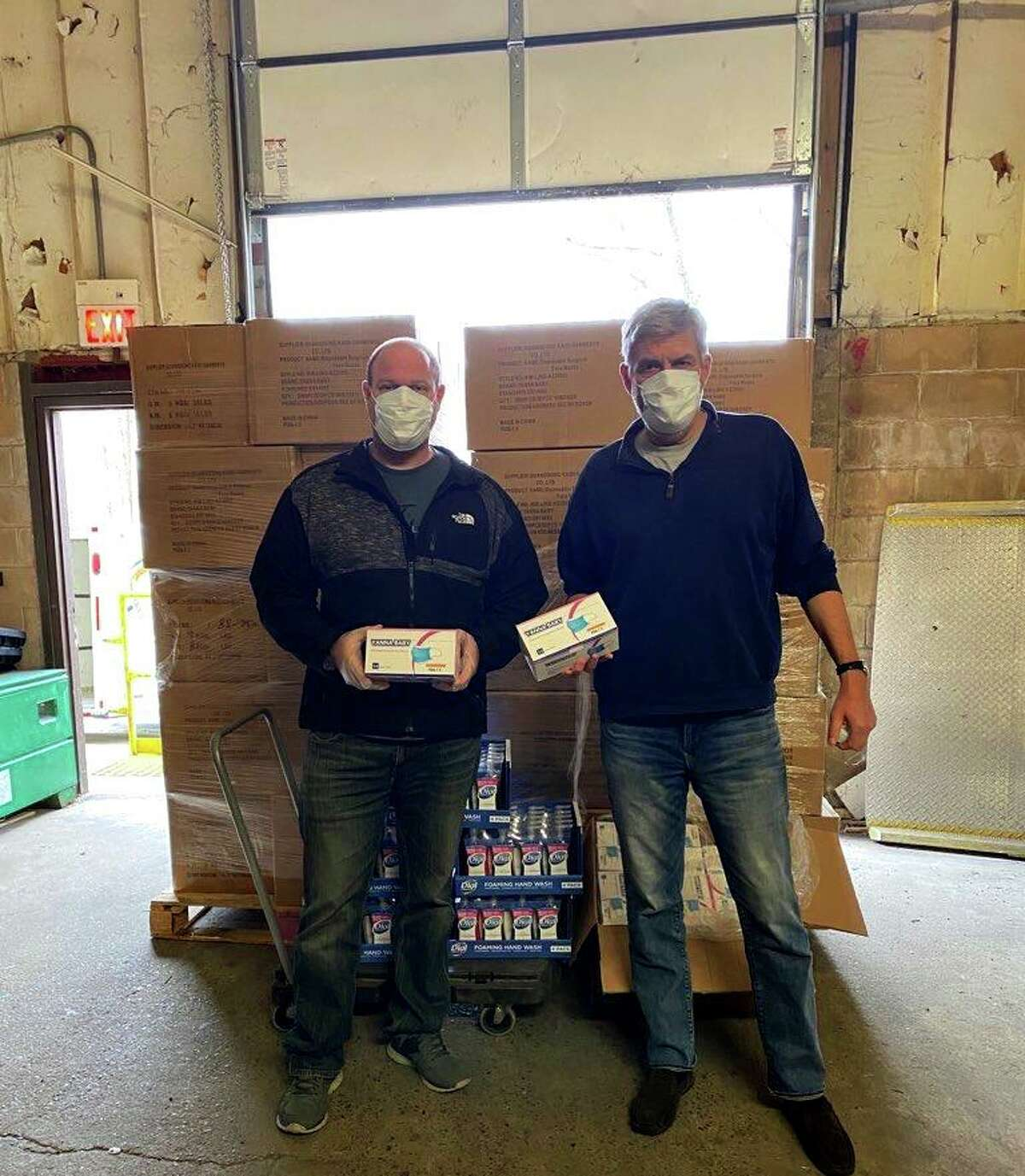 The first deliveries of masks for Masks for Heroes was made possible by (l-r) Stamford Firefighter Patrick Sasser and Masks for Heroes Founder Bob Stefanowski.