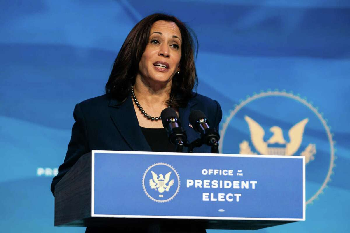 Vice President-elect Kamala Harris speaks at a Jan. 8 news conference in Wilmington, Del.