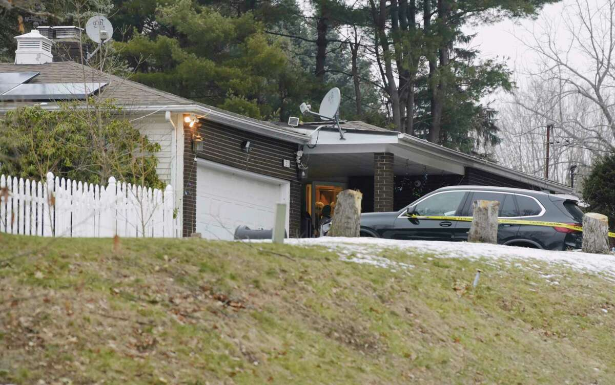 Police are investigating killingsthat took place at a home located at 1313 Angelo Drive on Thursday, Jan. 14, 2021, in Schodack, N.Y. State Police said an assailant killed two people before committing suicide. Another victim was being treated for a non-life-threatening gunshot wound, troopers said.(Paul Buckowski/Times Union)