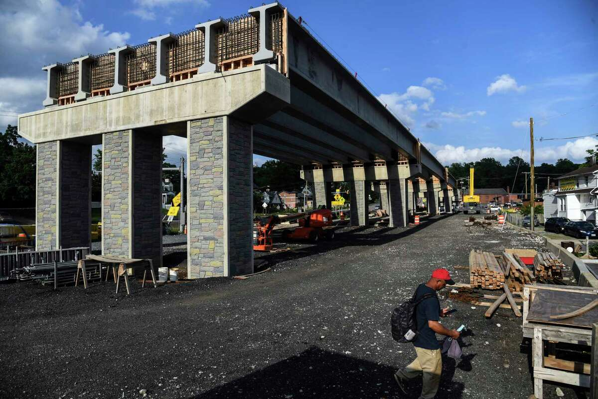A Purple Line overpass in Riverdale Park, Md., near Kenilworth Ave. and Route 410 sits unfinished on June 10, 2020.