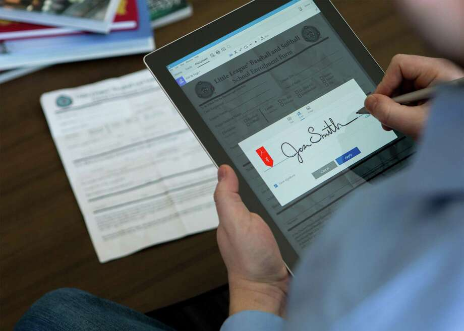 Adobe's Fill & Sign app, part of its Acrobat DC and Adobe Document Cloud. Photo: Ben Child, HONS / Associated Press / Adobe