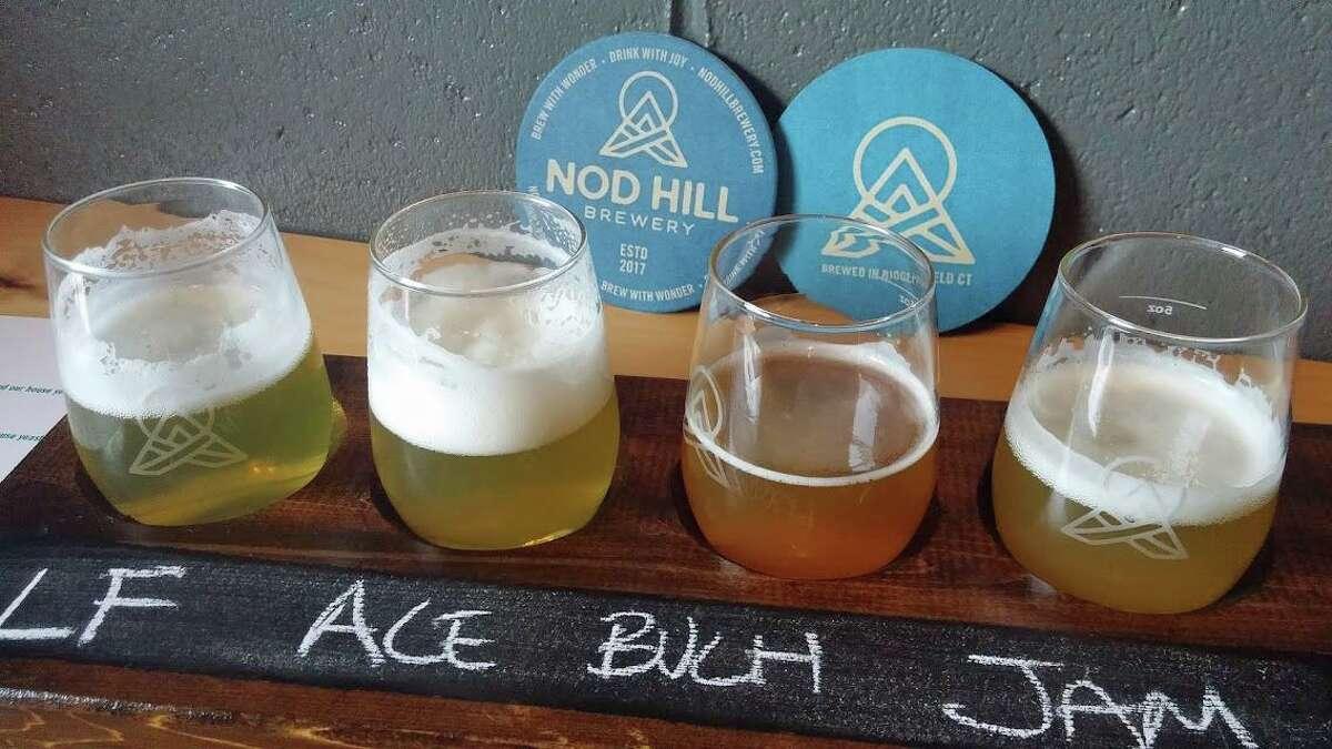 A tasting flight at Nod Hill Brewery in Ridgefield.