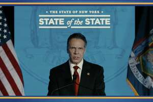 Gov. Andrew M. Cuomo delivered his 2021 State of the State speech virtually, in four parts, from January 11 to January 14. This screenshot of the webcast was from his Monday address.