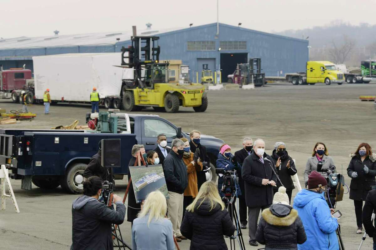 """FILE. Letter writer says, 'By proposing a state-of-the-art facility for assembling wind towers in a brownfield (""""Cuomo touts port for wind towers,"""" Jan. 14), Gov. Andrew Cuomo is showing how agile leaders can work on solving more than one problem at a time.' In this photo, Richard Hendrick, CEO of the Port of Albany, speaks at a press conference at the port on Thursday, Jan. 14, 2021, in Albany, N.Y. The press conference was held to discuss details of the proposed wind turbine manufacturing/assembly center at the port. (Paul Buckowski/Times Union)"""