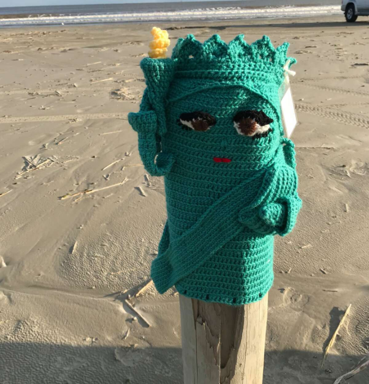 The yarn buddies are placed on the bollards from Horace Caldwell Pier all the way the south jetties, Vondra said.  Vondra said she chose to set up the yarn buddies during the winter months due to the beach being a bit